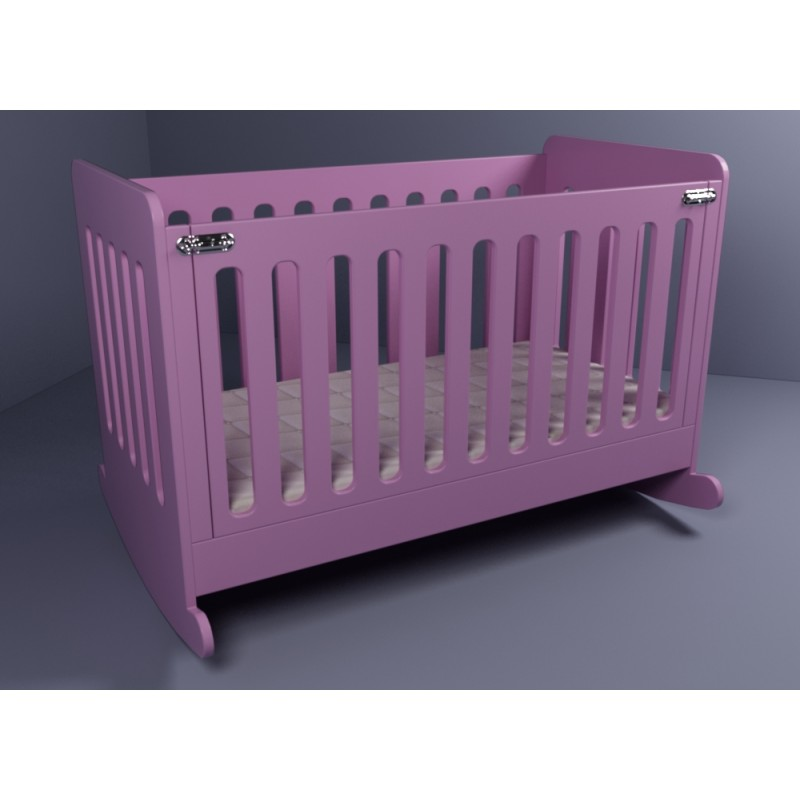 Cygnus Rocking Baby Crib 3 Levels Opens From Side With Mattress